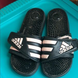 Pink and Black Adidas Sandals Size 8